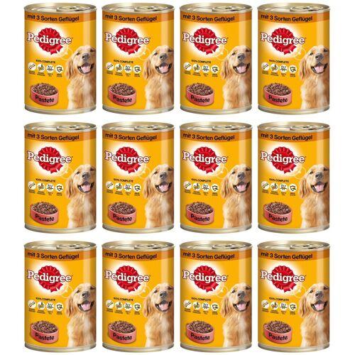 Pedigree Hundenassfutter »Pastete mit 3 Sorten Geflügel«, 12 Dosen á 400 g, braun