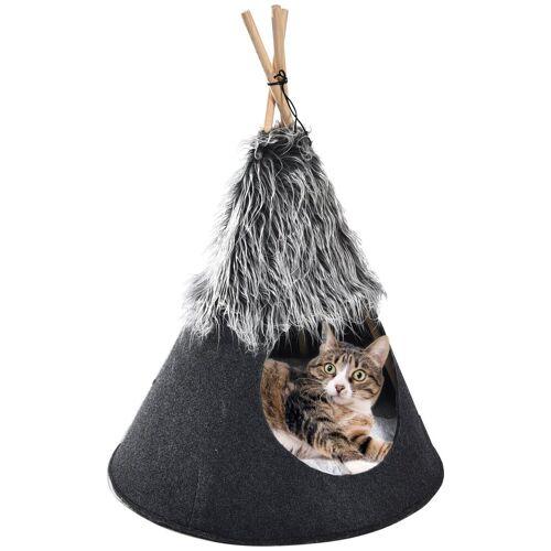 HEIM Hundehöhle und Katzenhöhle »tier-Tipi Love«, BxTxH: 50x50x70 cm, schwarz