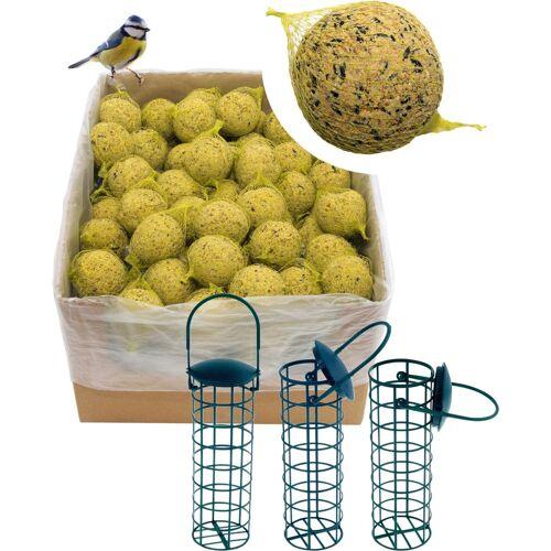 dobar Set: Vogelfutter »Meisenknödel«, 200 Stk. mit Netz inkl. 3 Futterspender, grün
