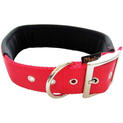 HEIM Hundehalsband mit Neopren-Futter, Länge: 50 cm, rot/schwarz