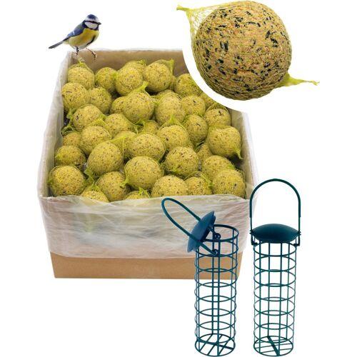 dobar Set: Vogelfutter »Meisenknödel«, 100 Stk. mit Netz inkl. 2 Futterspender, grün