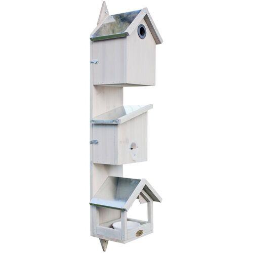 Habau Vogelhaus »Triple«, BxTxH: 21x18x76 cm, weiß