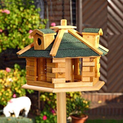 Mucola Vogelhaus »Vogelhäuschen Vogelhäuser Futterhaus Futtersilo Vogelfutterhaus«, Inkl. aufklappbaren Futterspender, Braun / Grün
