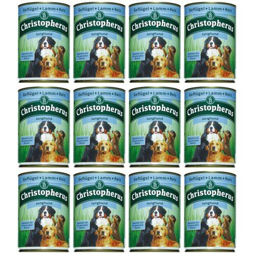 Christopherus Hundenassfutter »Junghund«, 12 Dosen á 400 g, braun