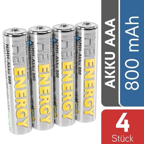 HEITECH »AAA Akku Micro 800 mAh 1,2V NiMH TÜV geprüft 4 Stück - Wiederaufladbare Batterien mit geringer Selbstentladung - Akkus für Geräte mit hohem Stromverbrauch« Akku 800 mAh (1.2 V)