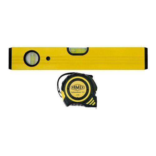 FAMEX Wasserwaage »Set Wasserwaage + 5m Rollbandmaß«, gelb