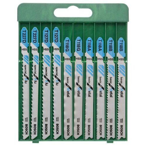 Bosch Set: Stichsägeblätter für Metall, T-Schaft, 10-tlg., silberfarben