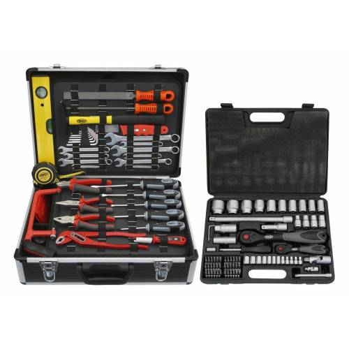 FAMEX Werkzeugkoffer »744 FX-48«, 159-tlg. Set, inkl. 76-tlg. Steckschlüsselsatz, schwarz