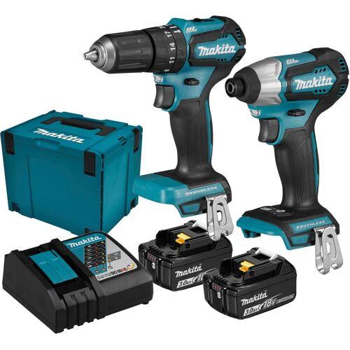 Makita Werkzeugset »DLX2221JX2«, 18 V, 3 Ah, inkl. Ladegerät und 2 Akkus, blau
