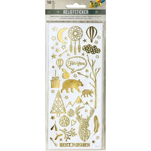 Folia Sticker »Relief-Sticker Weihnachten, 10 Blatt«