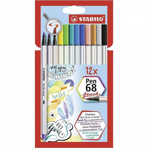 STABILO Filzstift »Premium-Filzstifte Pen 68 brush, 12 Farben«