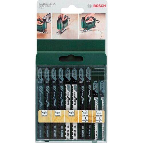 Bosch Set: Stichsägeblätter für Holz, T-Schaft, 10-tlg., silberfarben