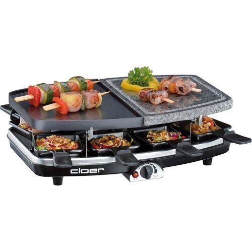 Cloer Raclette 6435 Raclette-Grill mit 8 Pfännchen schwarz