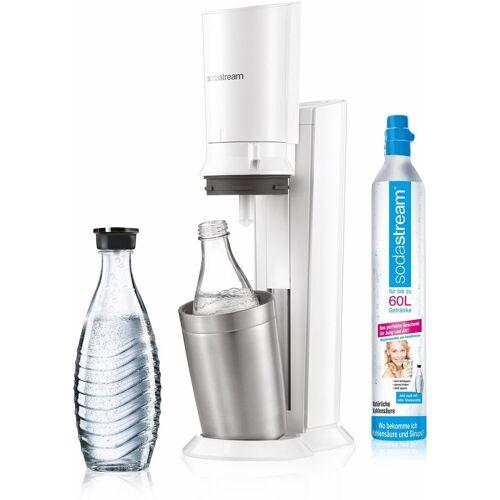 SodaStream Wassersprudler »Crystal 2.0«, (Set, 1 Wassersprudler, 1 Glaskaraffe, 1 Zylinder), weiß