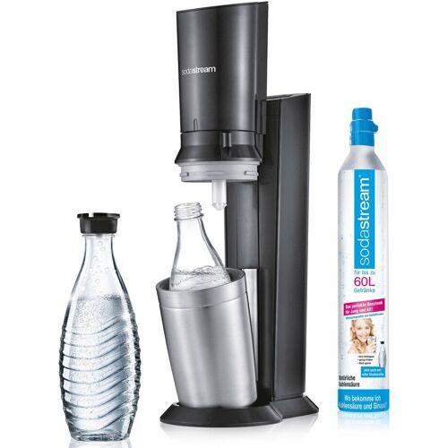 SodaStream Wassersprudler »Crystal 2.0«, (Set, 1 Wassersprudler, 1 Glaskaraffe, 1 Zylinder), titansilberfarben