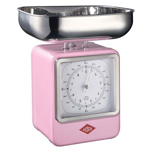 WESCO Küchenwaage »Retro Waage mit Uhr Retro Waage mit Uhr«, Pink