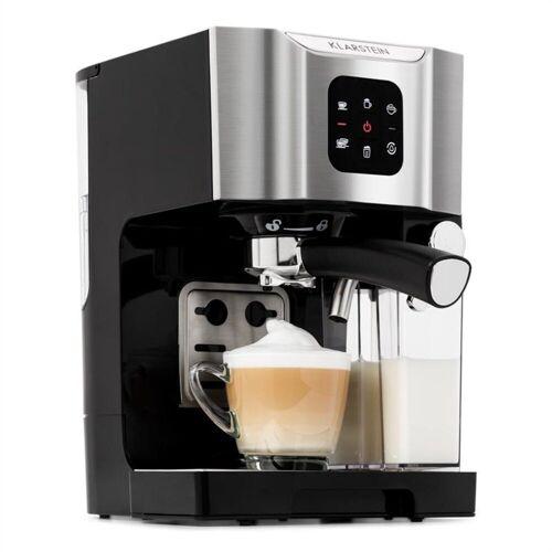 Klarstein Filterkaffeemaschine BellaVita Kaffeemaschine, 1450 W, 20 Bar, Milchschäumer, 3in1, grau, 0l Kaffeekanne, Grau