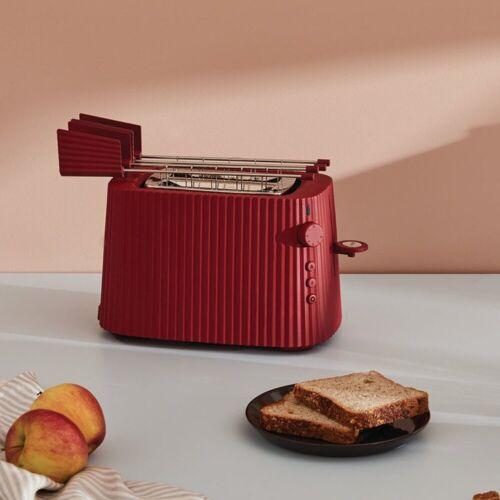Alessi Toaster Toaster Plissé - Farbwahl, Europäischer Stecker, Elektrische Leistung 850 Watt, Rot