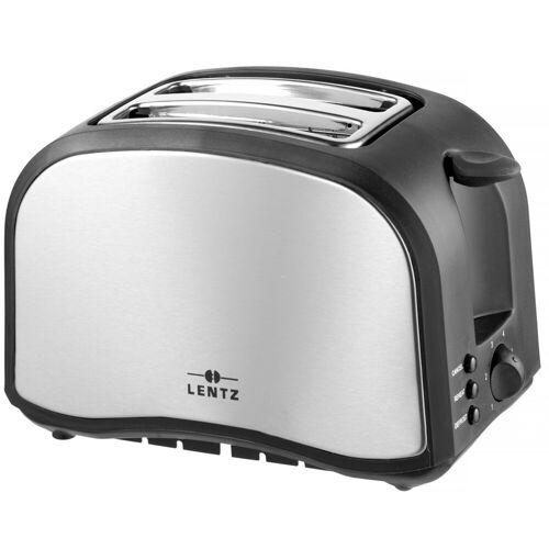 Lentz Toaster 2 Scheiben-Toaster Silber Schwarz, 2-Schlitz-Toaster, für 2 Scheiben Toast, 800 W