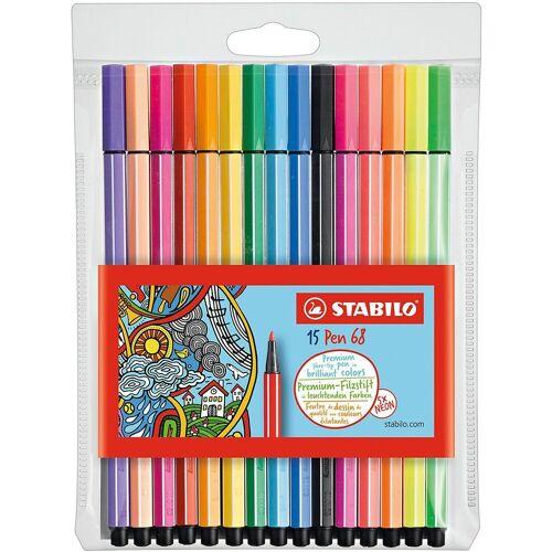 STABILO Filzstift »Filzstifte Pen 68 NEON, 10 & 5 Farben«
