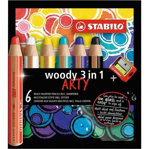 STABILO Buntstift »Buntstift woody 3 in 1 ARTY, 6 Farben, inkl.«