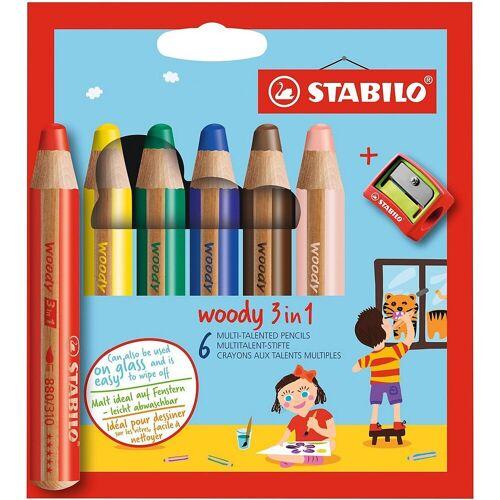 STABILO Buntstift »Buntstifte woody 3 in 1, 6 Farben, inkl. Spitzer«