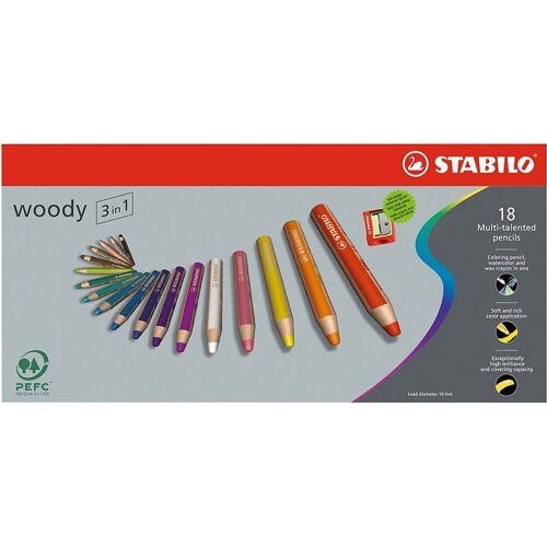 STABILO Buntstift »Buntstift woody 3 in 1, 18 Farben, inkl. Spitzer«