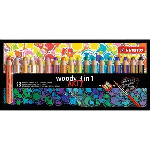 STABILO Buntstift »Buntstift woody 3 in 1 ARTY, 18 Farben, inkl.«