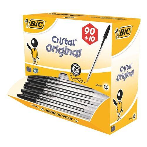 BIC Kugelschreiber »Cristal Original«, (100-tlg), im Großpack, schwarz