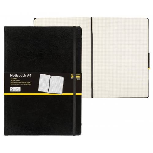 Idena Notizbuch »Notizbuch DIN A4 - 192 karierte Seiten - Hardcover - schwarz«