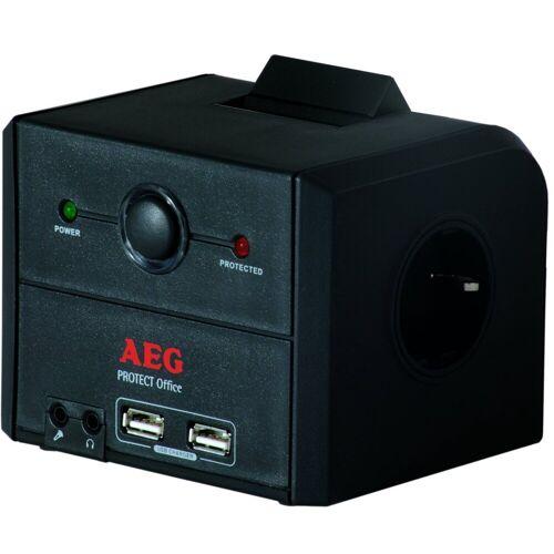 AEG Steckdosenleiste »3-fach mit Überspannungsschutz«, Schwarz