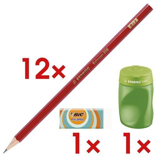 STABILO 12x Holz-Bleistift inkl. Dosenanspitzer »Schwan« 1 Set, härtegrad b