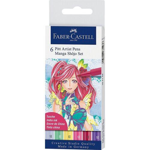 Faber-Castell Filzstift »PITT ARTIST Pens Tuschestift Manga Shôjo, 6 Farben«, bunt