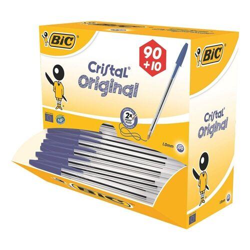 BIC Kugelschreiber »Cristal Original«, (100-tlg), im Großpack, blau