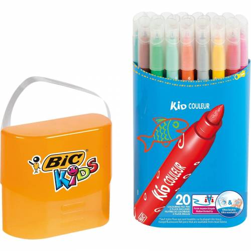 BIC Kids Kid Couleur Filzstifte in Stiftebox, 20 Farben