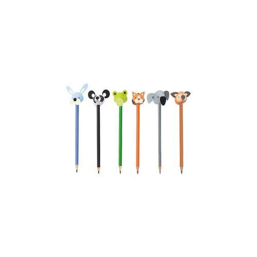 Buntstifte Tiere mit Papierköpfen, 6 Stück