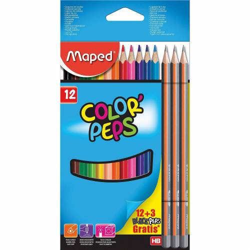 Color Peps Buntstifte 12 Farben + 3 Bleistifte