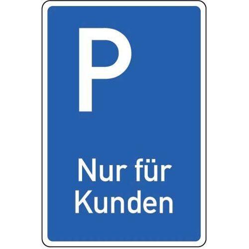 Parkplatz-Schild »Nur für Kunden«, blau