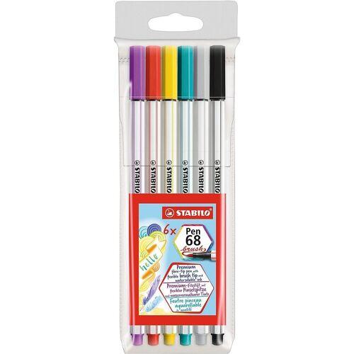 STABILO Filzstift »Premium-Filzstifte Pen 68 brush, 6 Farben«