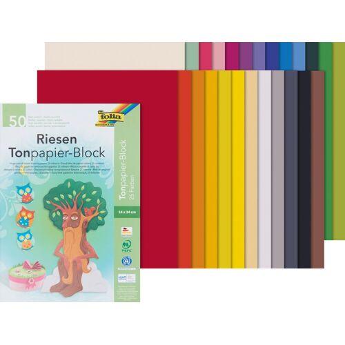 Folia Papierkarton »Tonpapier-Block«, 50 Blatt, 130 g/qm, sortiert