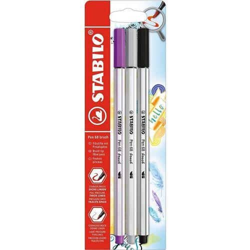 STABILO Filzstift »Premium-Filzstifte Pen 68 brush, 3 Farben«