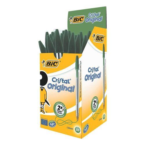 BIC Kugelschreiber »Cristal«, (50-tlg), mit Kappe, grün