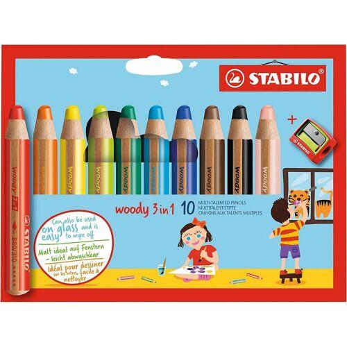 STABILO Buntstift »Buntstifte woody 3 in 1, 10 Farben, inkl. Spitzer«