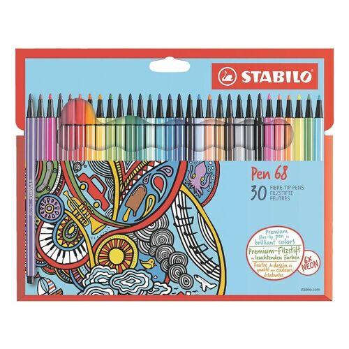 STABILO Filzstift »Pen 68«, (30-tlg), wasservermalbar