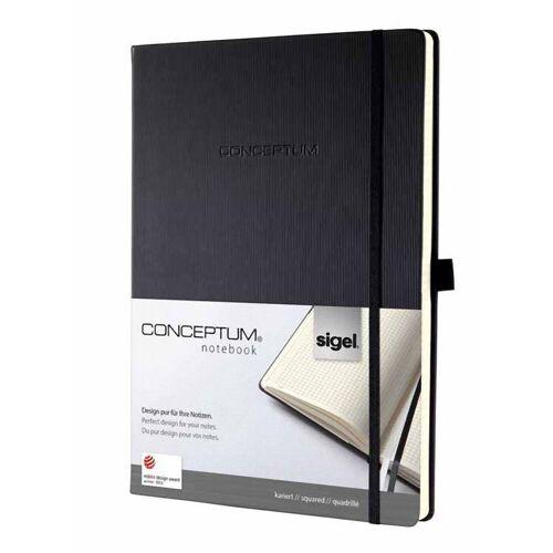 Sigel Notizbuch, Premium Notizbuch Conceptum CO111 kariert A4 Hardcover 194 Seiten schwarz