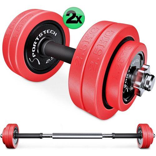 Sportstech Hantel-Set, 20 kg, (Set, 23-tlg., mit Kurz- und Langhantelstange)
