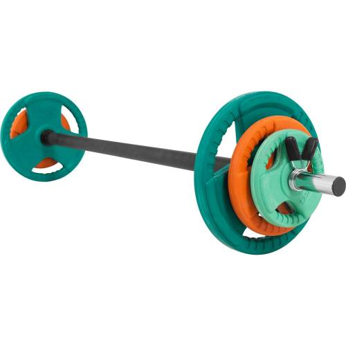GORILLA SPORTS Hantel-Set »Langhantelset Aerobic Gummi Gripper 19,3 kg«, 19,3 kg, (9-tlg)