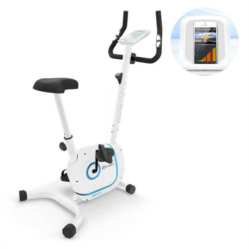 KLARFIT Fahrradtrainer »Myon Cycle Heimtrainer 12kg Schwungmasse SmartCardio Studio weiß«, Weiß