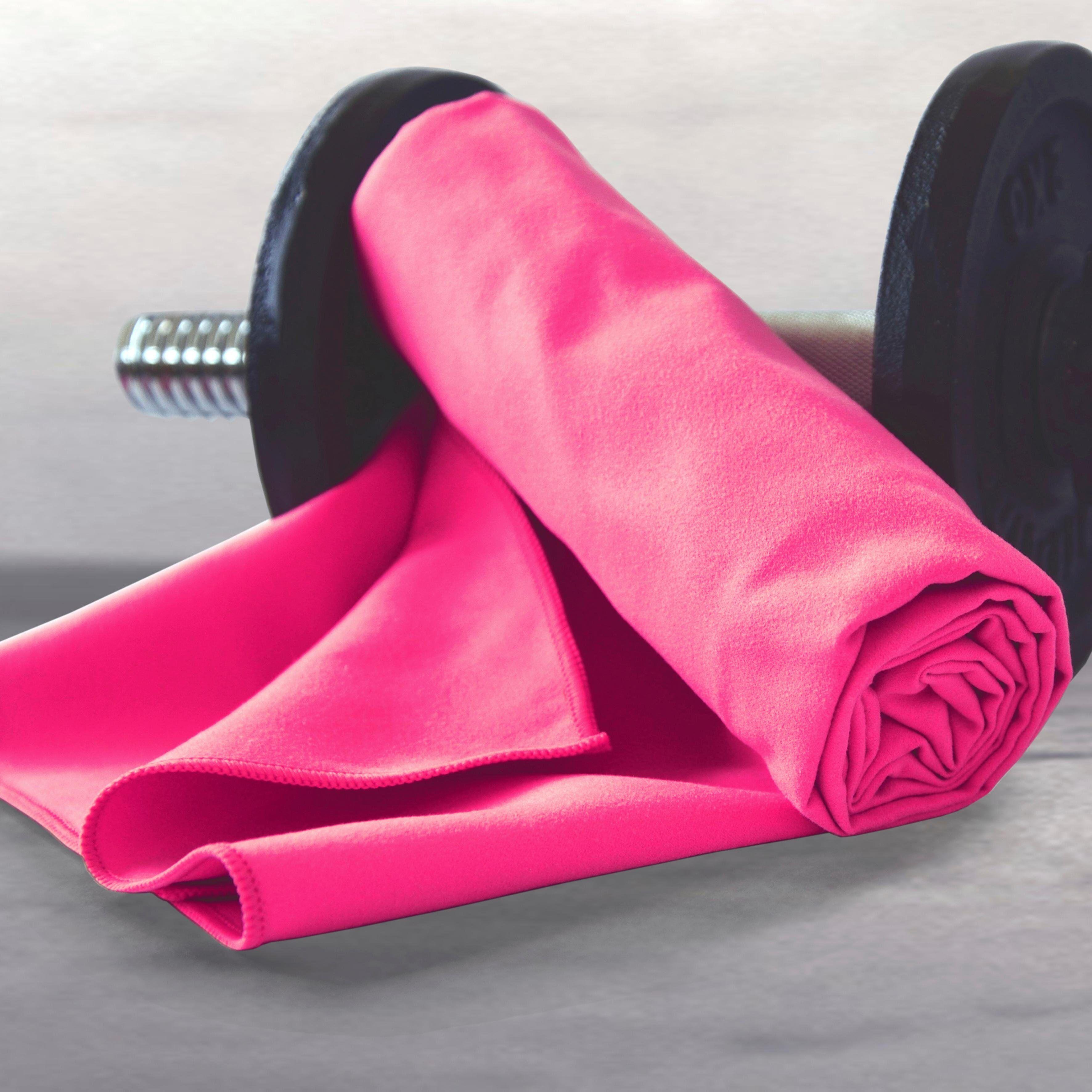 Dyckhoff Sporthandtuch »Sporttuch Mikrofaser«, , in Meshtasche, pink
