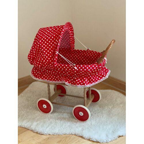 Welt der Träume Puppenwagen »Puppenwagen Holzpuppenwagen Rot mit weißen Herzen inkl. Decke und Kissen«